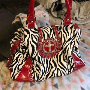 Zebra print large purse